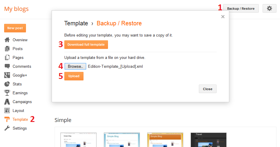 Blogger template installation Backup/Restore Image