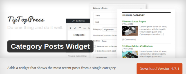 Category Posts wordpress widget